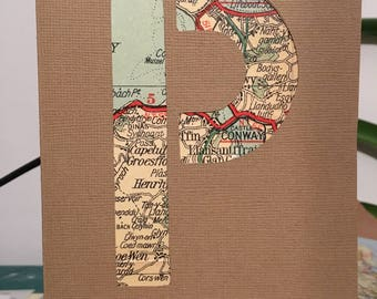 Personalised Initial Map Greeting Card - Travel and Adventure Customised Letters