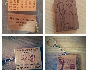 Personalised, engraved keyrings - children's drawings, special dates to remember, hand/foot prints