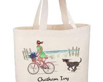 Cape Cod Beach Bike Tote by Chatham Ivy - summertime - Black Lab - beach tote