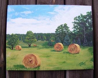 View Crystalyn's Backyard- Hay Bales- Farmer's Hay Field - Original Acrylic Painting