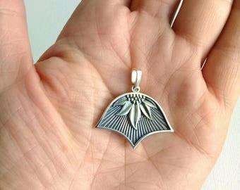 Silver pendant, sunflower pendant, sunflower silver, half of a flower, flower pendant, sunflower necklace, petal, solid sterling silver