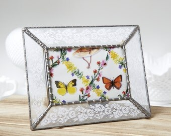 Antique Lace Glass Picture Frame -Table Top 4x6 Picture Frame - Shabby Chic- Cottage Style Vintage Lace