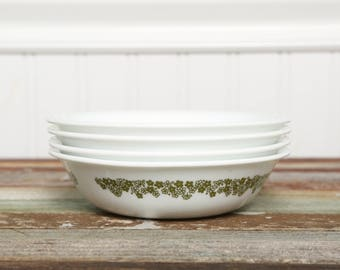4 SMALL RARE Corelle Fruit Bowls-Crazy Daisy Spring Blossom set of 4-Green Flower Livingware by Corning-Vintage Bowls-Retro Kitchen-Pyrex