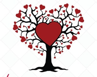 valentine svg, Family Tree SVG, Family Tree DXF, Cutting Files, Tree Clipart, silhouette, illustration, love illustration, printable
