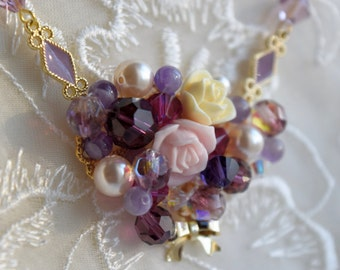 Romantic flower bouquet necklace, Pink and Purple Flower Necklace, Adjustable gold chain, Swarovski Crystal and Pearl, Bridesmaid gift