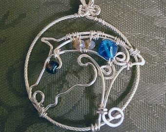 Silver Plated Wire work horse necklace