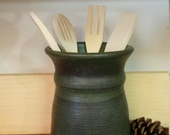 Slate green pottery utensil holder,  pottery utensil holder, ceramic utensil holder, Slate green pottery,  pottery vase, ceramic vase