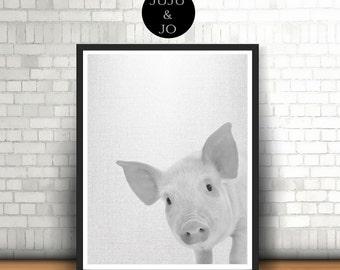 Piglet PRINTABLE Baby Pig Print, Farm Animal Art, Baby Room Art, Wall Decor, Pig Print, Home Decor, Peekaboo Print, Instant Download