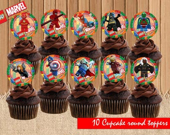 Lego Marvel Cupcake Toppers| Lego Birthday Party| Lego Cupcake Toppers| Lego Marvel Birthday Party Printable| INSTANT DOWNLOAD