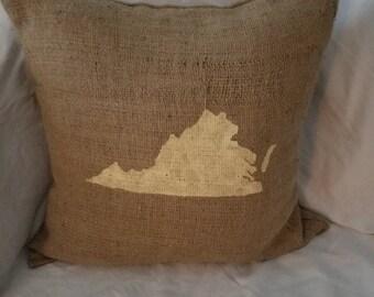 VA Burlap Pillow