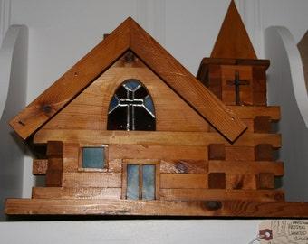 Lighted Handmade Wooden Church