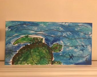 Sea Turtle Finger Painting - customizable