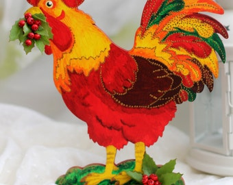 The wooden red cockerel