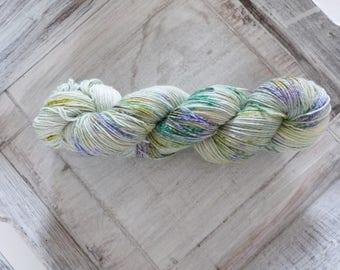 Sock yarn hand dyed 100 g cotton petite brosse yellow green blue white