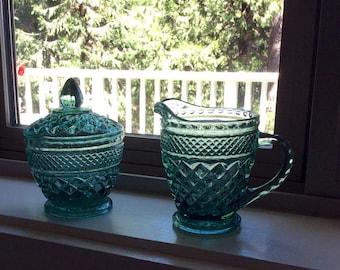 Blue/Green Diamond Cut Cream & Sugar Set