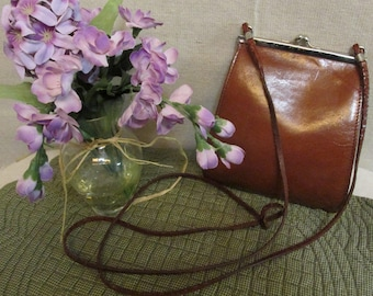Vintage 1960's-1970's Boho Hippie Cognac Brown Italian Leather Cross Body Pouch Purse Kisslock Chrome Frame Made In Italy