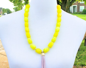 Yellow Necklace. Yellow Tassel Necklace.