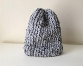 Light Gray Beanie // Light Gray Speckled Slouchy Winter Hat // Crocheted