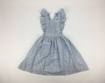 Classic French Blue Floral Pinafore Girls Dress | Pom'Flore French Children's Clothing