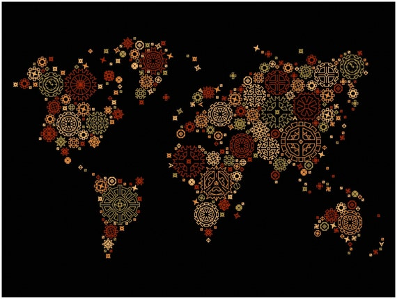 Steampunk world map modern blackwork cross stitch pattern steampunk world map modern blackwork cross stitch pattern steampunk world map wall art poster chart pdf download from circlecross on etsy studio gumiabroncs Images