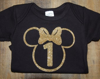 Golden ONE, Minnie birthday, Gold, black onesie