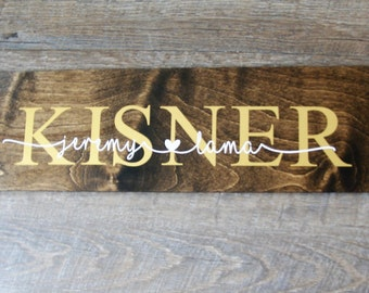 Custom Stained Wood Family Sign 6x24