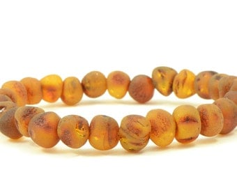 Raw Unpolished Baltic Amber Bracelet, Unisex Bracelet, Cognac Color ,Elastic Band, 18-20cm (7-7.9 inches), Raw Baltic Amber Beads, L053U