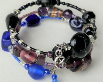 Galaxy Fade to Black Bangle Wrap Bracelet with Star & Moon Charms