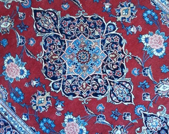 Very old persian rug kashan 6.8 × 4.4 ft 203 x 133 cm