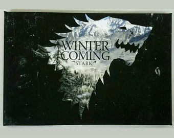 House Stark Dierwolf A4 Size Canvas With Winter Is Coming Quote