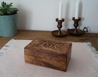handmade box, wood box, exoctic wood, jewel box, treasure box, carved wood, bohemian decor, shabby chic, minimalist decor