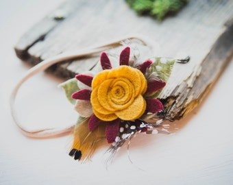 Mustard and Burgundy felt flowers with feathers headband
