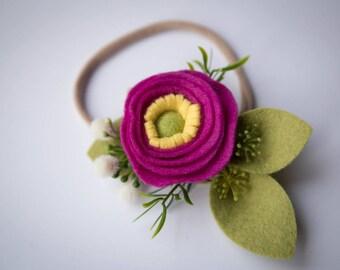 Felt Flower Headband // Fuchsia with greens