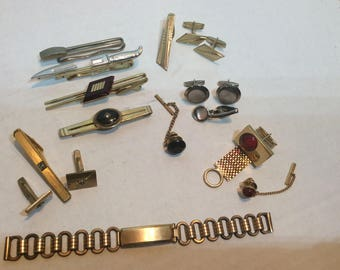 Lot of 17 Pieces Mens Tie Bars Cuff Links