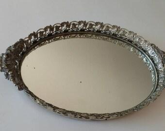 Silver Vanity Mirrored Tray / Vanity Tray / Silver Filigree / Mirror / Tray / Mirrored Tray