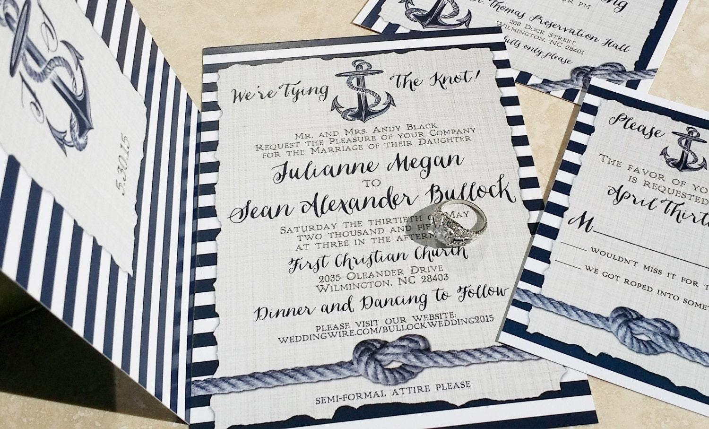 Sailboat Wedding Invitations: Nautical Wedding Invitations. Heart Knot And Anchor Wedding