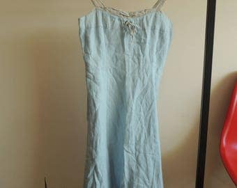 FREE SHIPPING - Vintage Light blue and gray linen strap dress with side zipper, size 38, made in France