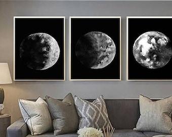 Moon Wall Art moon phases art minimal art black and white moon art moon