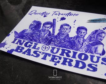 "ORIGINAL Drawing Art Blue Pen Inglourious basterds Size 8""x11.5"" [A4]"