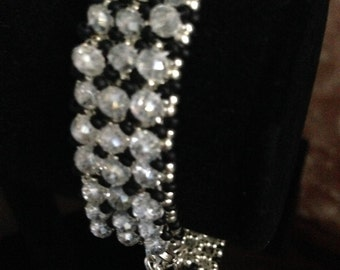 Black, Silver and White Crystal Bracelet, Beaded Bracelet, White Bracelet, Black Bracelet, Crystal Bracelet, Unique Bracelet