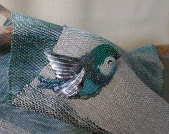 bead embroidery brooch bluish green bird, handmade brooch, Bead jewelry, Beaded Brooch -  Example Product Only