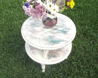 Sold!  White distressed table