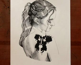 Rorschach Limited edition print, portrait, pointilism