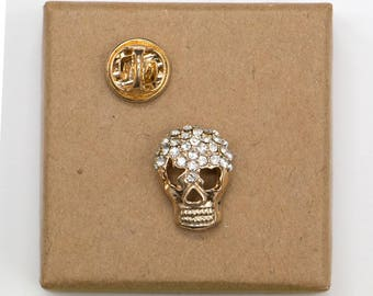 Free Shipping! Skull covered with Rhinestone Enamel Pin