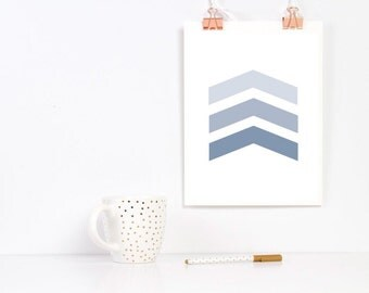 Chevron Arrow Print Gray Blue