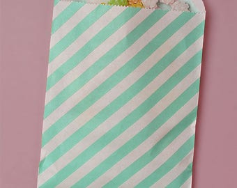 "12 Turquois Stripes Paper Bags. Grocery Bags. Favor, Party Bags, and Candy Bags. 5 1/8 x 6 3/8""."
