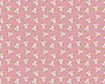 Pink Floral Fabric/ Mini Floral Fabric/ Garden Girl Fabric/ Riley Blake Fabric/ Fabric by the Yard/ Pink Mini Floral/ Pink Cotton Floral