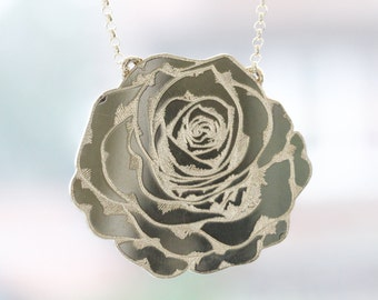 Solid Sterling Silver Rose Necklace with beautiful rose engraving and a quote. Rose pendant, Sterling Silver.