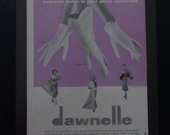 Dawnelle Gloves, Clyde LLC, Maurice Rentner,Vintage Fashion Ad, Wall Decor, Vintge Shop Decor, Midcentury Fashion, Collage,
