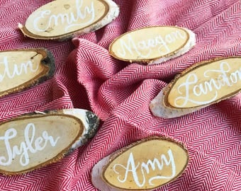 Wood slice place card